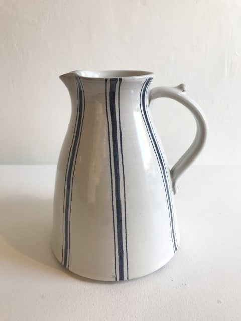 Wide Blue Stripe on White, Large Jug