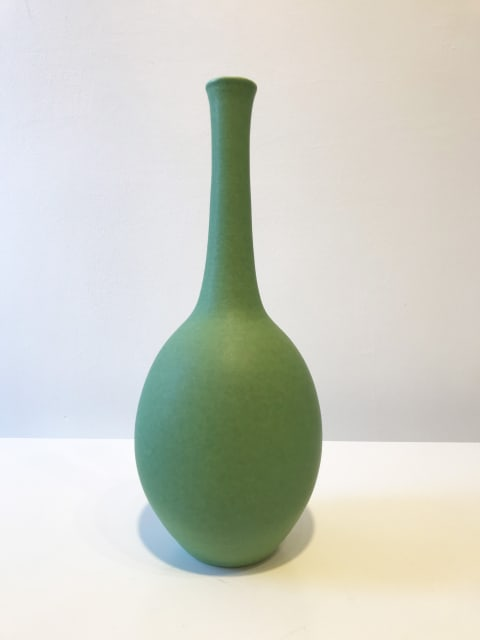 Emerald Oval Bottle with Long Neck, Tall