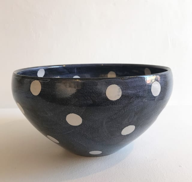 Tydd Pottery, White Spots on Blue, Large Round Bowl