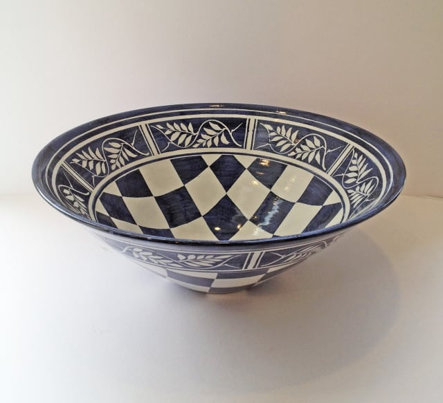 Tydd Pottery, Bowl - Checks & Wisteria , 2019