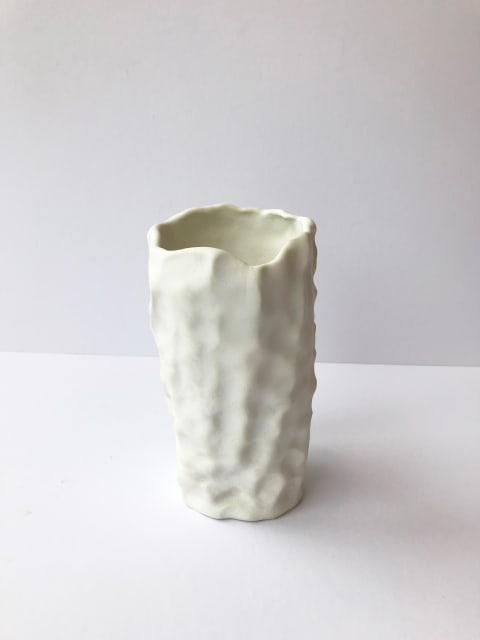 Emma Jagare, Small White Pushed and Pulled Vase, 2019