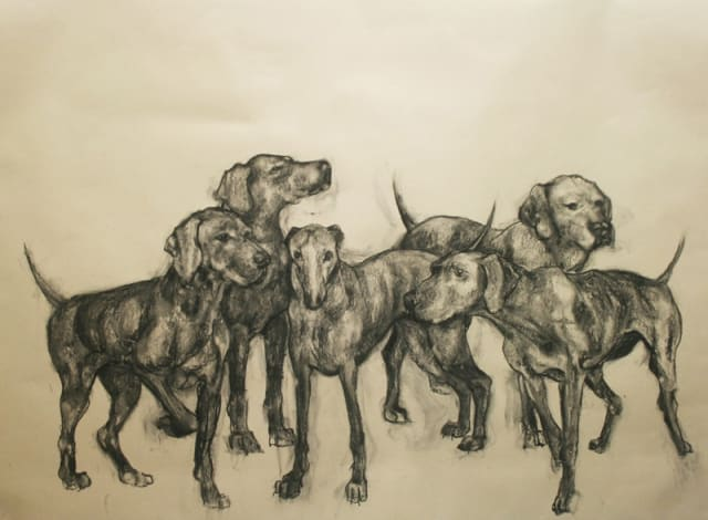 Abigail Reed, 'The Hounds', charcoal on paper, H 150 cm x 200 cm