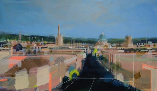 Christopher Farrell, 'High Street', acrylic on linen, H 45 x 77 cm