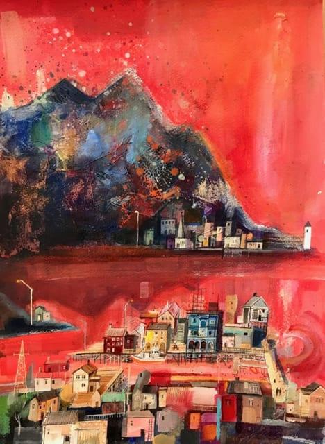 Emmie van Biervliet, 'Arctic Circle, Land of the Summer Sun', mixed media, H 61 x 48 cm framed.