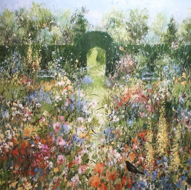 Fletcher Prentice, 'Summer Garden', oil on canvas, H 100 x 100 cm