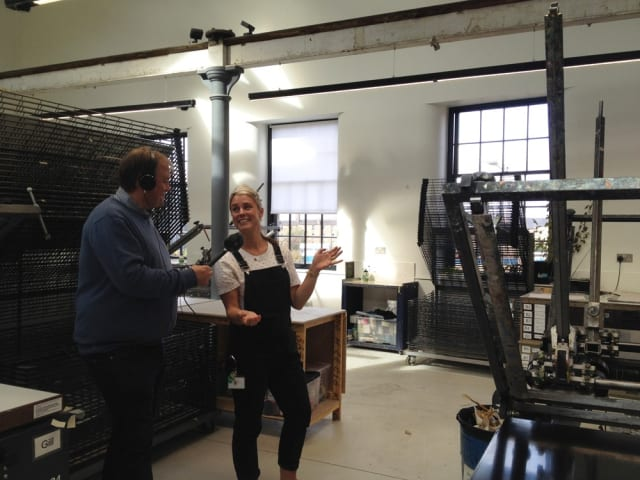 Dave Howard (Bespoken Media) and Catherine Rayner at Edinburgh Printmakers