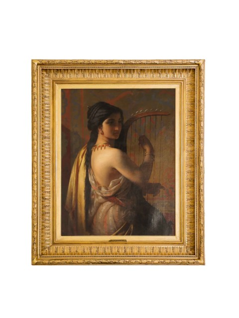 Young lady in Roman dress playing the harp