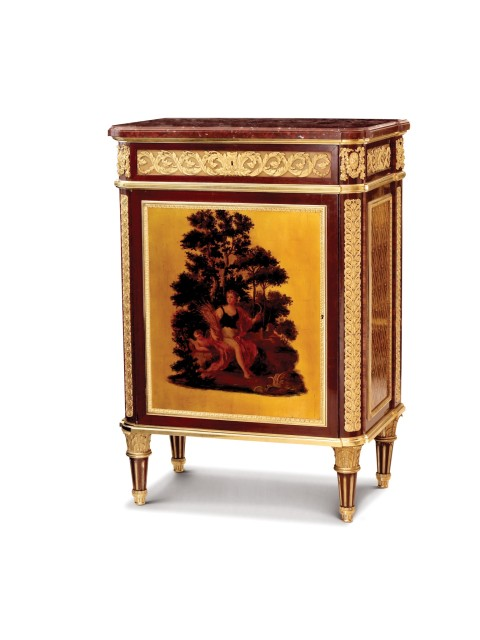 Cabinet in amaranth veneer and rosewood, with rouge marble top