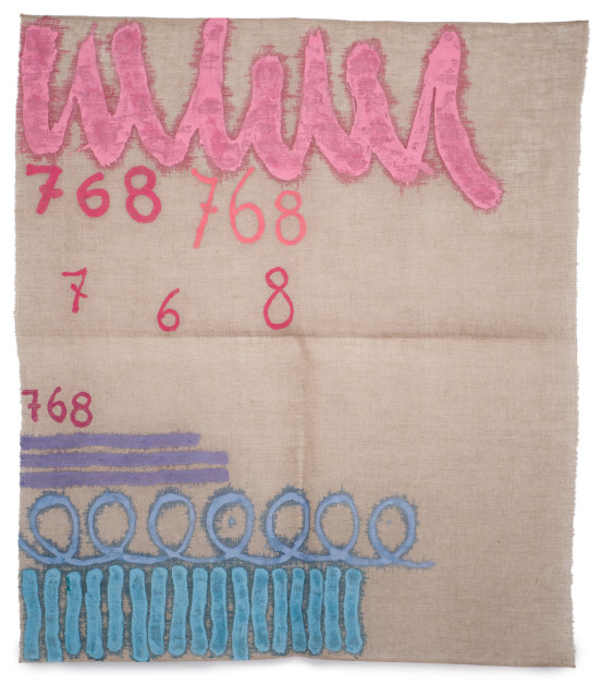 Giorgio Griffa, Tre linee con arabesco n.768, 1993