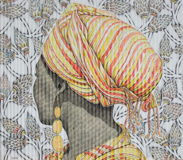 Gary Stephens, Iziane, Orange Scarf & Protea Pattern, 2020