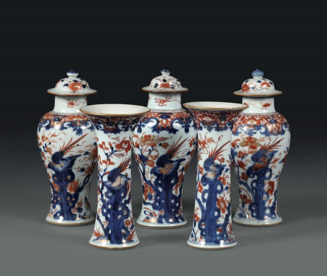 <span class=&#34;title&#34;><em>Decorative group of three potiches and two vases with Imari decorations</em>, China, 18th century</span>