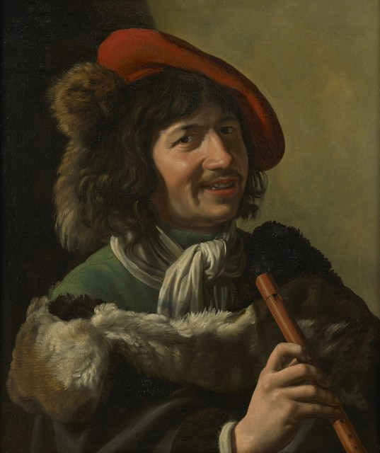 <span class=&#34;artist&#34;><strong>Attribuited to Theodoor Rombouts</strong></span>, <span class=&#34;title&#34;><em>Farmer with flute</em></span>