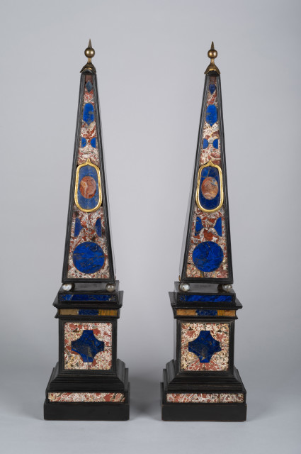 A pair of Italian ebony, Lapis Lazuli, Jasper, Agate and ebonised obelisks, 18th Century