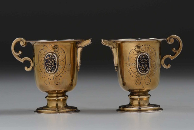 <span class=&#34;title&#34;><em>Pair of small jugs, acqua and vinum, in gilt silver and enamels</em>, Spain, 16th century</span>