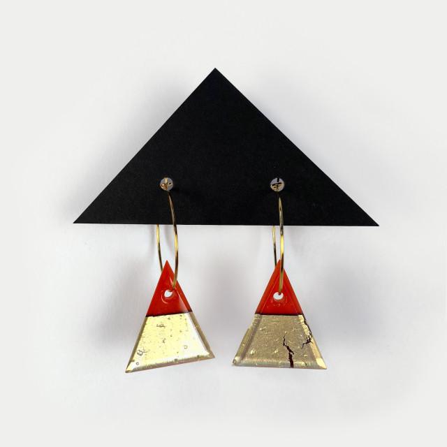 Geometric Glass Triangle Hoop Earrings - Pimento Red + Gold
