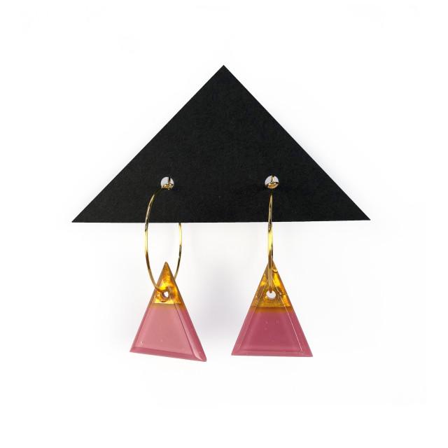Geometric Glass Triangle Hoop Earrings - Pink + Gold