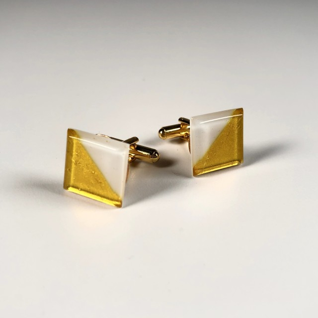 Geometric Glass Cufflinks - White + Gold