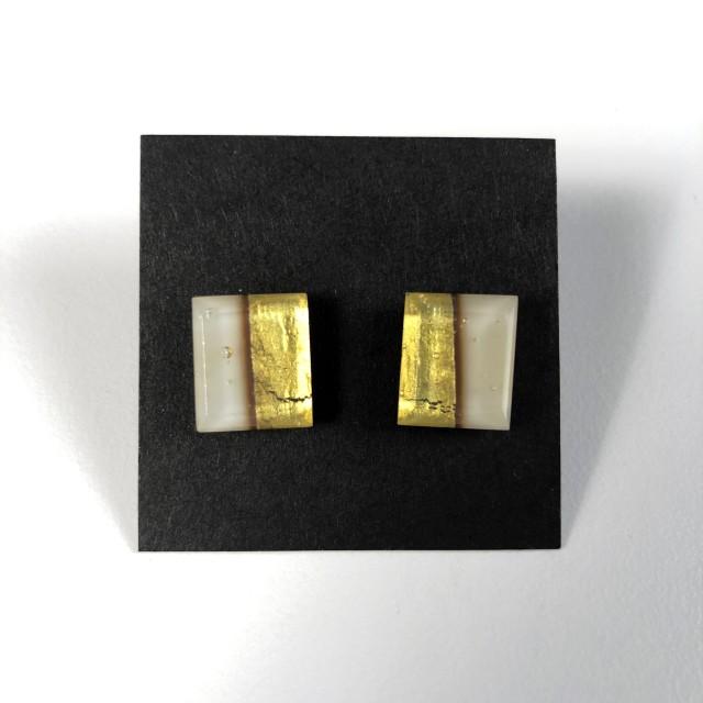 Geometric Glass Post Earrings - Light Peach Cream + Gold