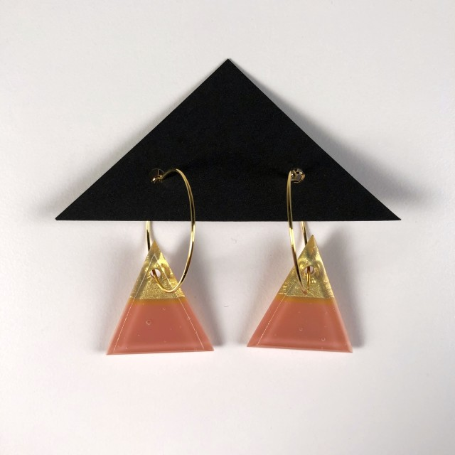 Geometric Glass Triangle Hoop Earrings - Salmon Pink + Gold