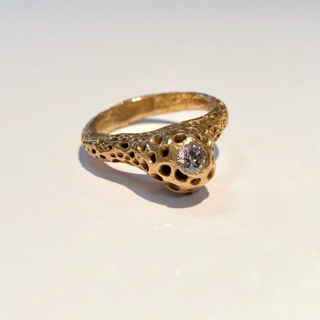 Petrified Spongy Coral Ring