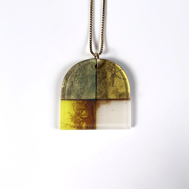 Quadrant Series - Glass Pendant Necklace No.3