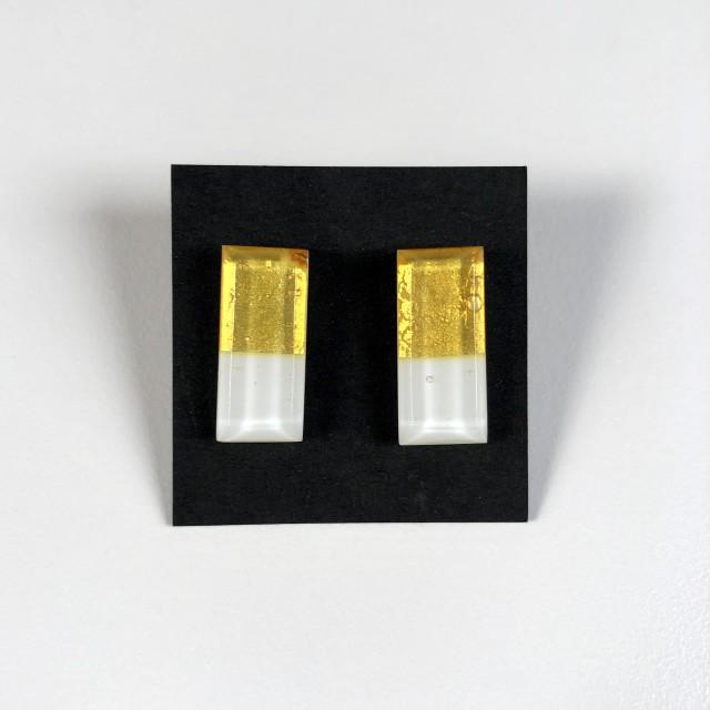 Geometric Glass Post Earrings - Gold + White