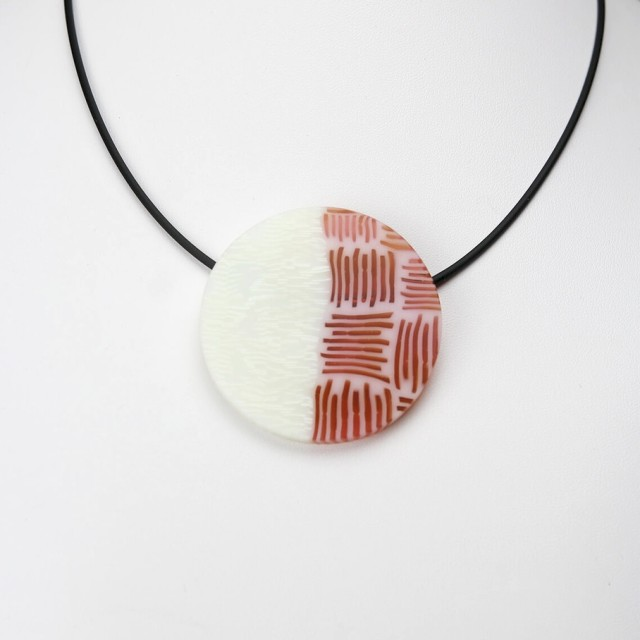 Red and White Circular Pendant