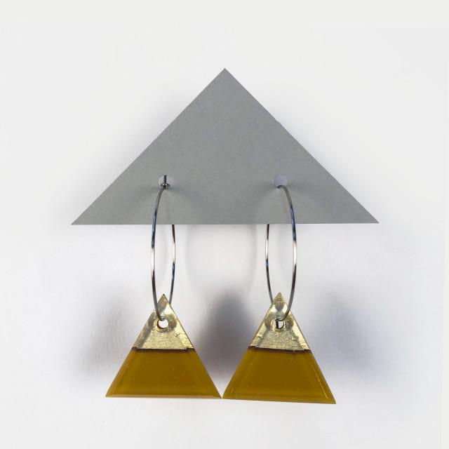 Geometric Glass Triangle Hoop Earrings - Golden Green + Metallic