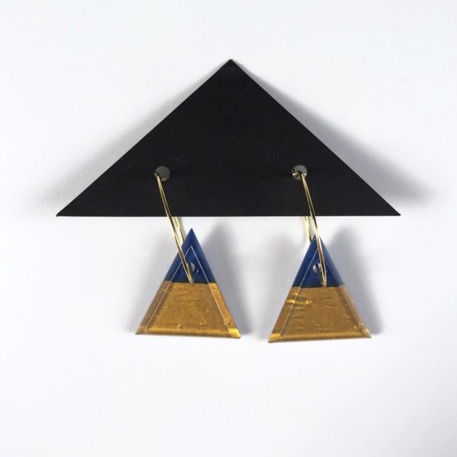 Geometric Glass Triangle Hoop Earrings - Blue + Gold