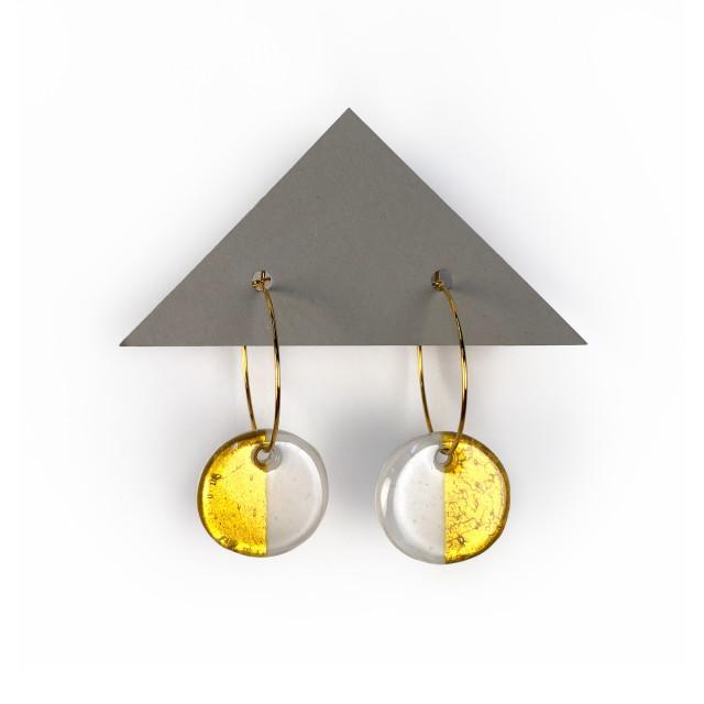 Geometric Glass Circle Hoop Earrings - White + Gold