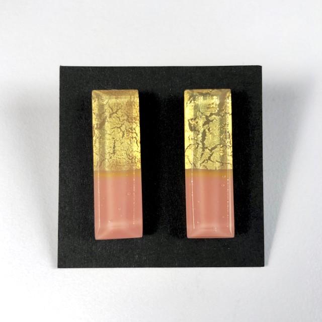 Geometric Glass Post Earrings - Salmon Pink + Gold