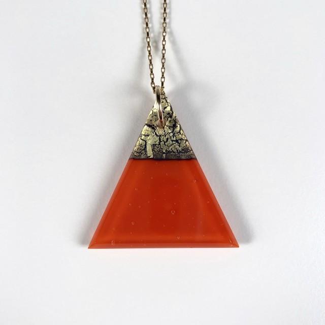 Geometric Glass Triangle Pendant Necklace - Pimento Red + Gold