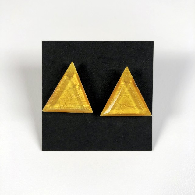 Geometric Glass Post Earrings - Gold