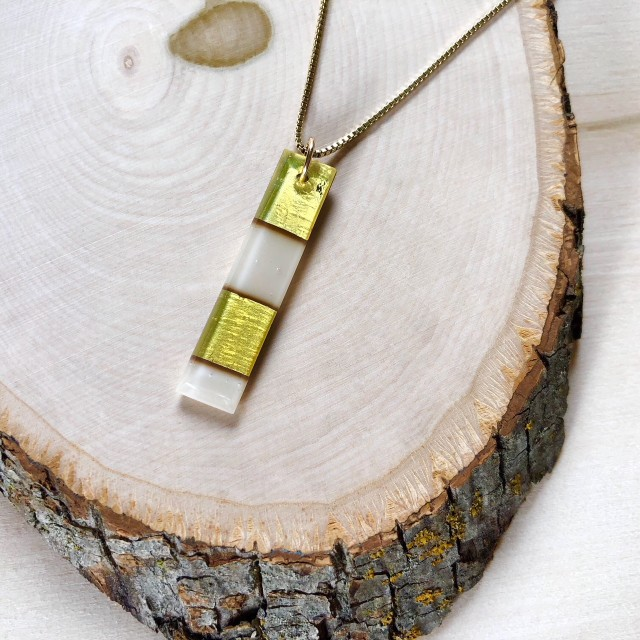 Geometric Glass Rectangle Pendant Necklace - Light Peach Cream + Gold