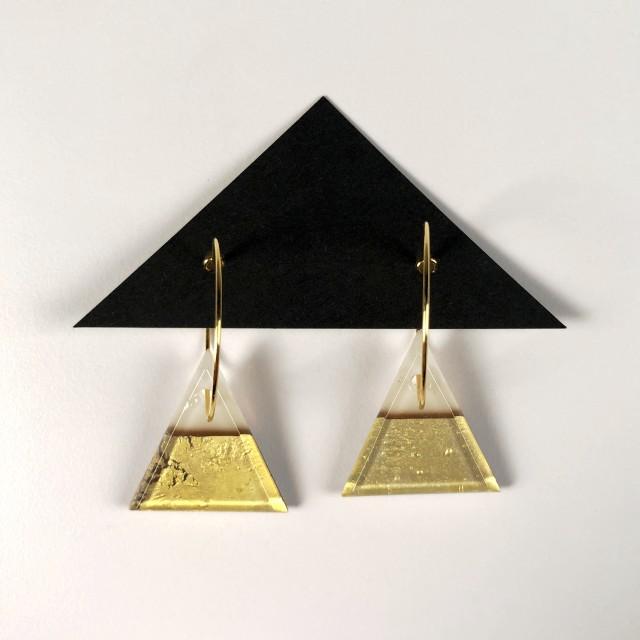 Geometric Glass Triangle Hoop Earrings - Light Peach Cream + Gold
