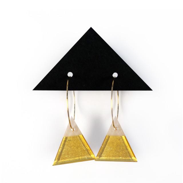 Geometric Glass Triangle Hoop Earrings - Marzipan + Gold