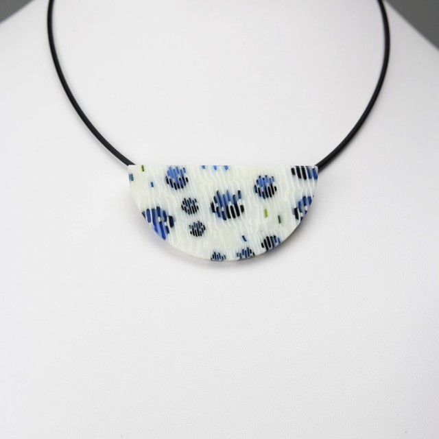 Blue Ruffled Feathers Wedge Pendant Necklace