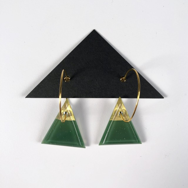 Geometric Glass Triangle Hoop Earrings - Green + Gold