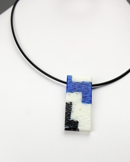 White, Blue, and Black Rectangular Pendant Necklace