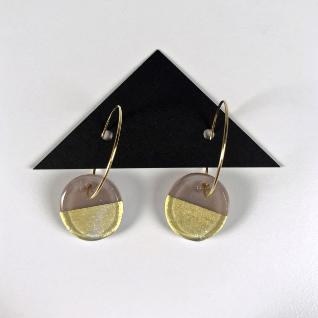 Geometric Glass Circle Hoop Earrings - Mink + Gold