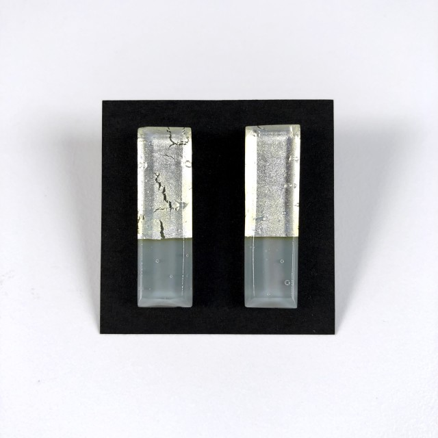 Geometric Glass Post Earrings - Silver + Gray