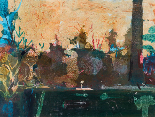 John Harmer  Lookout, 2019  Acrylic on paper  46 x 61 cm