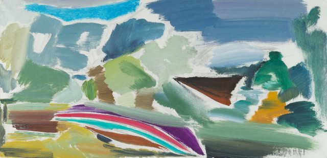 Ivon Hitchens  Careened Boat Study, 1972  Oil on canvas  20 x 41 inches  51 x 104 cm