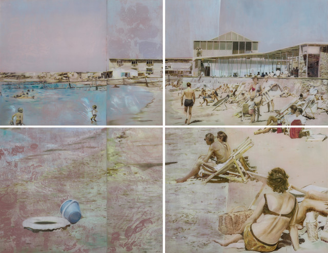 Gil Heitor Cortesāo Between Tides (Quadriptych), 2014 Oil on Plexiglas 168 x 218 cm 66 1/8 x 85 7/8 in 4 panels