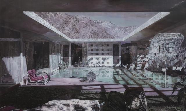 Gil Heitor Cortesāo  Huis Clos, 2018  Oil on plexiglas  120 x 200 cm  47 1/4 x 78 3/4 in