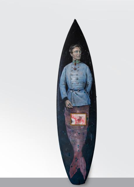 Philip Mueller Franzl am See, 2015 Oil on surfboard 202 x 52 cm 79 1/2 x 20 1/2 in