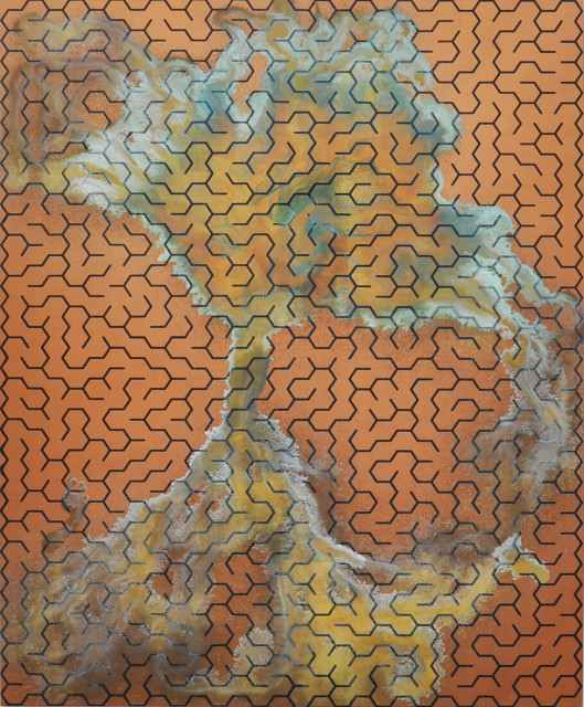Michael Sailstorfer Maze #80, 2013 Acrylic screen print and acid on copper primed canvas 230 x 190 cm 90 1/2 x 74 3/4 in