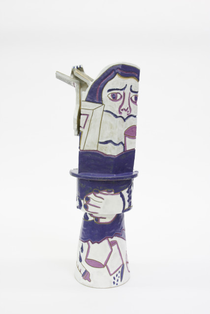 "Bari Ziperstein  Women Bite the Hand That ""Feeds"" You, 2019  Stoneware, glaze and underglaze  24 1/2 x 8 x 8 in (62.2 x 20.3 x 20.3 cm)"