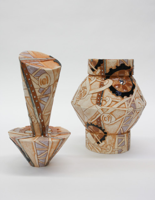 Bari Ziperstein  Belts and Gears, 2019  Terracotta, glaze and luster  26 x 11 x 11 in (66 x 27.9 x 27.9 cm)