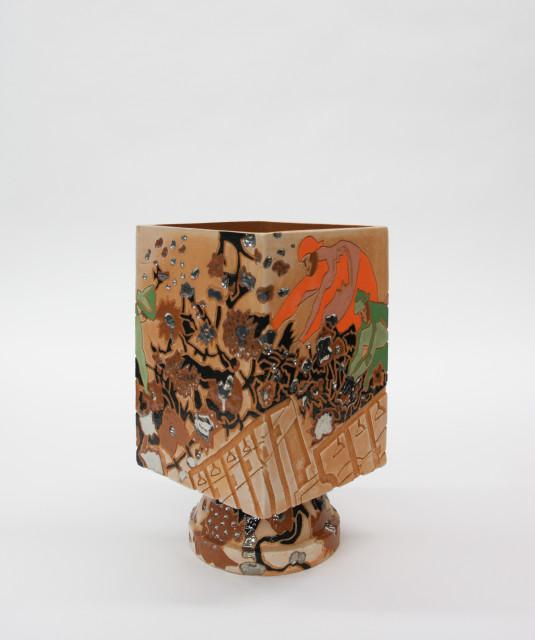 Bari Ziperstein  Gathering Cotton, 2019  Terracotta, glaze, underglaze and luster  14 x 8 x 8 in (35.6 x 20.3 x 20.3 cm)